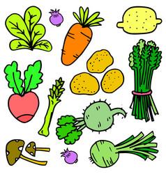 set of fresh vegetable doodles vector image