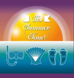 set summer icon over sea vector image vector image