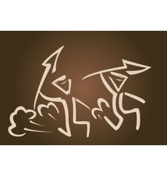 Simple Silhouette of hunters with spear vector image vector image