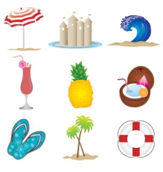 summer objects set vector image vector image