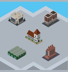 isometric construction set of industry house vector image vector image