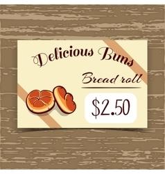 Price Tag Design Bread Rolls vector image vector image