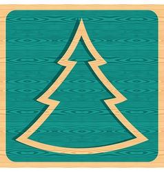 Retro wooden Christmas tree vector image vector image