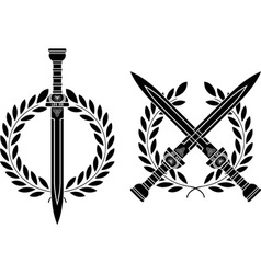 roman swords and wreath vector image vector image