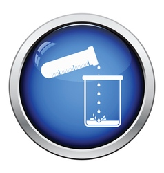 Icon of chemistry beaker pour liquid in flask vector