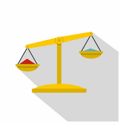 justice scales icon flat style vector image