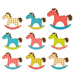 Set of patchwork horses 3 vector image vector image