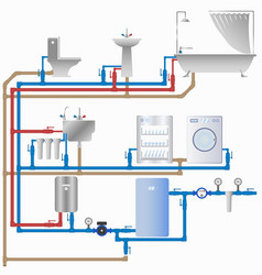 water supply and sewerage system in the house vector image