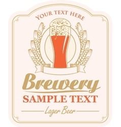 Brewery label with a glass of beer vector