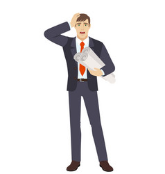 businessman holding the project plans and grabbed vector image vector image