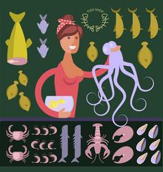 cartoon character seafood seller vector image vector image