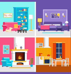 four colorful flat rooms to vector image vector image