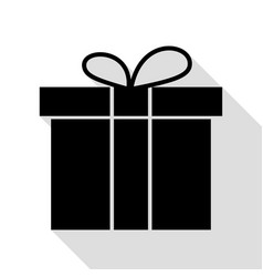 gift box sign black icon with flat style shadow vector image vector image