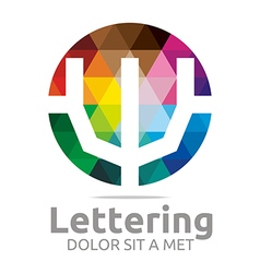 lettering w rainbow alphabet icon vector image vector image