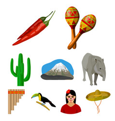 mexico country set icons in cartoon style big vector image vector image