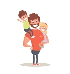 Superhero dad concept Strong Dad holding his two vector image