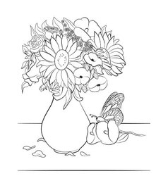 00204-Vase-with-flowers-coloring-page vector