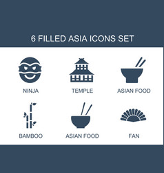 6 asia icons vector