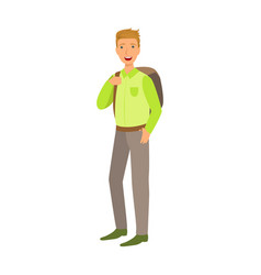 A male student with a school bag colorful cartoon vector
