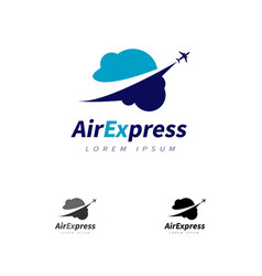 Air express with plane flying over clouds vector