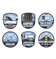 airlines and airport flights aviation icons vector image