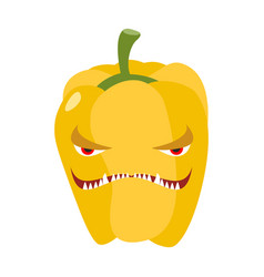 Angry sweet pepper aggressive yellow vegetable vector