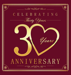 Anniversary retro vintage background 30 years vector