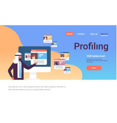 arab man choosing different user profiling concept vector image