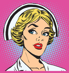 Avatar portrait of a retro nurse vector