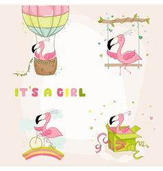 Baby flamingo set - shower or arrival card vector