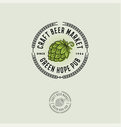 Beer logo green hope craft beer vector