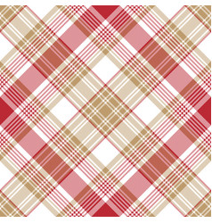beige red white check diagonal plaid seamless vector image