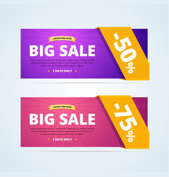 Big sale banners with transparent ribbon vector