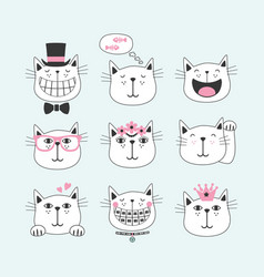 Black line cute smiling cats with different faces vector