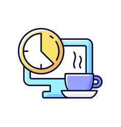 breaks in work graphic rgb color icon vector image