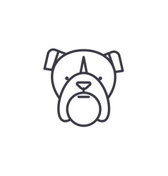 bulldog head line icon sign vector image
