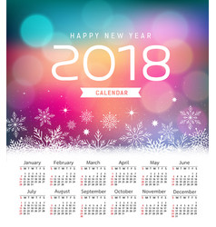 calendar new year 2018 snowflake and purple vector image