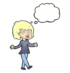 Cartoon woman with open arms with thought bubble vector