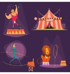 Circus Retro Cartoon Icon Set vector
