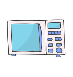 color hand drawn doodle of a microwave vector image