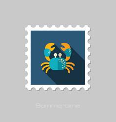 Crab stamp summer vacation vector