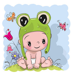 Cute cartoon baby in a froggy hat on the meadow vector