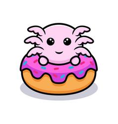 Cute oxolotl inside donut cartoon character vector