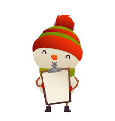 cute snowman holds in his hands blank isolated vector image