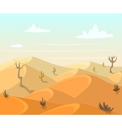 Desert landscape with cactuses and trees vector