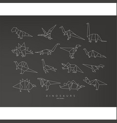 dinosaurus origami set flat black vector image