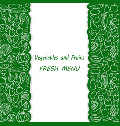 Doodle vegetarian food menu cover vector