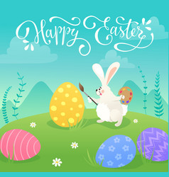 Easter bunnies greeting card vector
