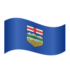 flag of alberta waving on white background vector image