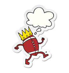 Football with crown cartoon and thought bubble as vector